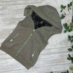 Burton womens army green hoodie vest size large